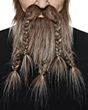 Mustaches Self Adhesive, Novelty, Fake Viking Dwarf Beard, Brown with Gray Color