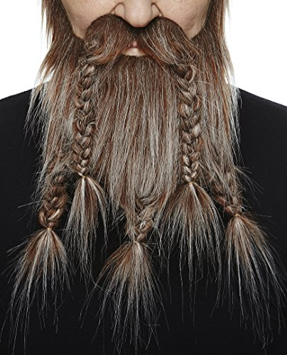 Mustaches Self Adhesive, Novelty, Viking Dwarf Fake Beard, False Facial Hair, Costume Accessory for Adults, Brown with Gray ()
