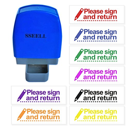 (SSEELL Please Sign and Return Reward Stamp Self Inking for School Student Teacher Homework Feedback Stamp Rubber Flash Stamp Self-Inking Pre-Inked RE-inkable School Stationary - Purple Ink)