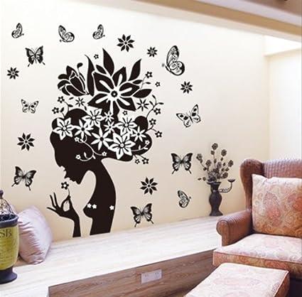 Butterflies wall decal girl black flowers removable vinyl wall art sticker