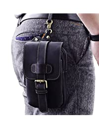Le'aokuu Mens Genuine Leather Small Hook Fanny Waist Bag Hip Bum Pouch Pack (The 014 Black)