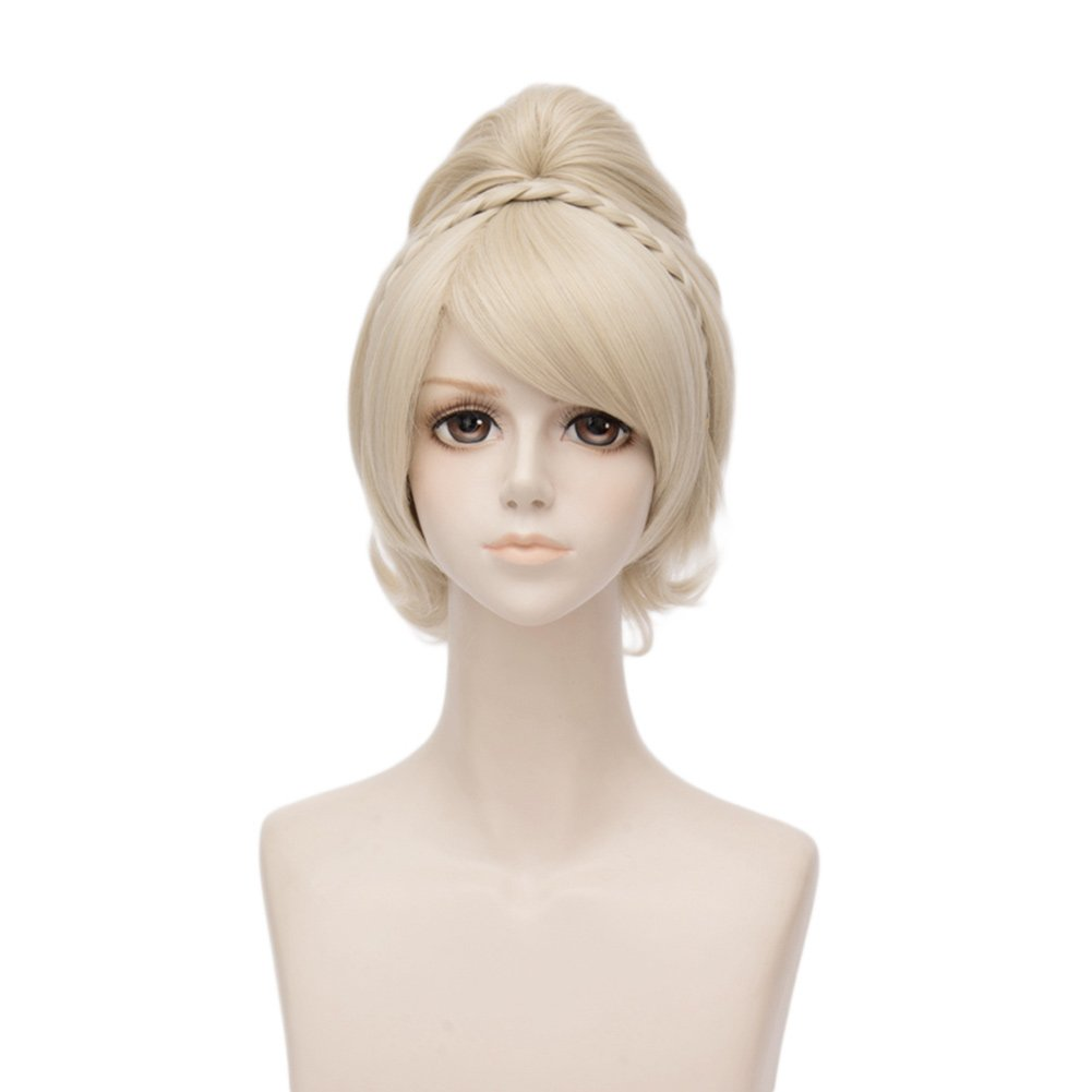 Netgo Short Blonde Cosplay Wigs for Women Clip in Ponytail Heat Resistant Costume Party Halloween Wigs