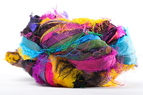 Darn Good Yarn Recycled Handmade Sari Silk Ribbon Tibet Jewels Multicolor Yarn | Silk Ribbon Knitting Yarn, Crochet Yarn, Jewelry Making, Weaving Yarn, Gift Wrapping Ribbon | 100 gram, 130 Feet
