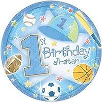 1er cumpleaños All-Star Platos de postre de 7 pulgadas - 18 /paquete.