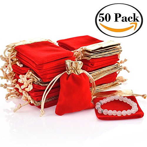 """handrong 50pcs Velvet Bags Drawstring Jewelry Gift Pouch for Women Wedding Bridal Shower Party Favor 4.0""""x2.8"""" Red - Party Favor Gift Bags Purses"""
