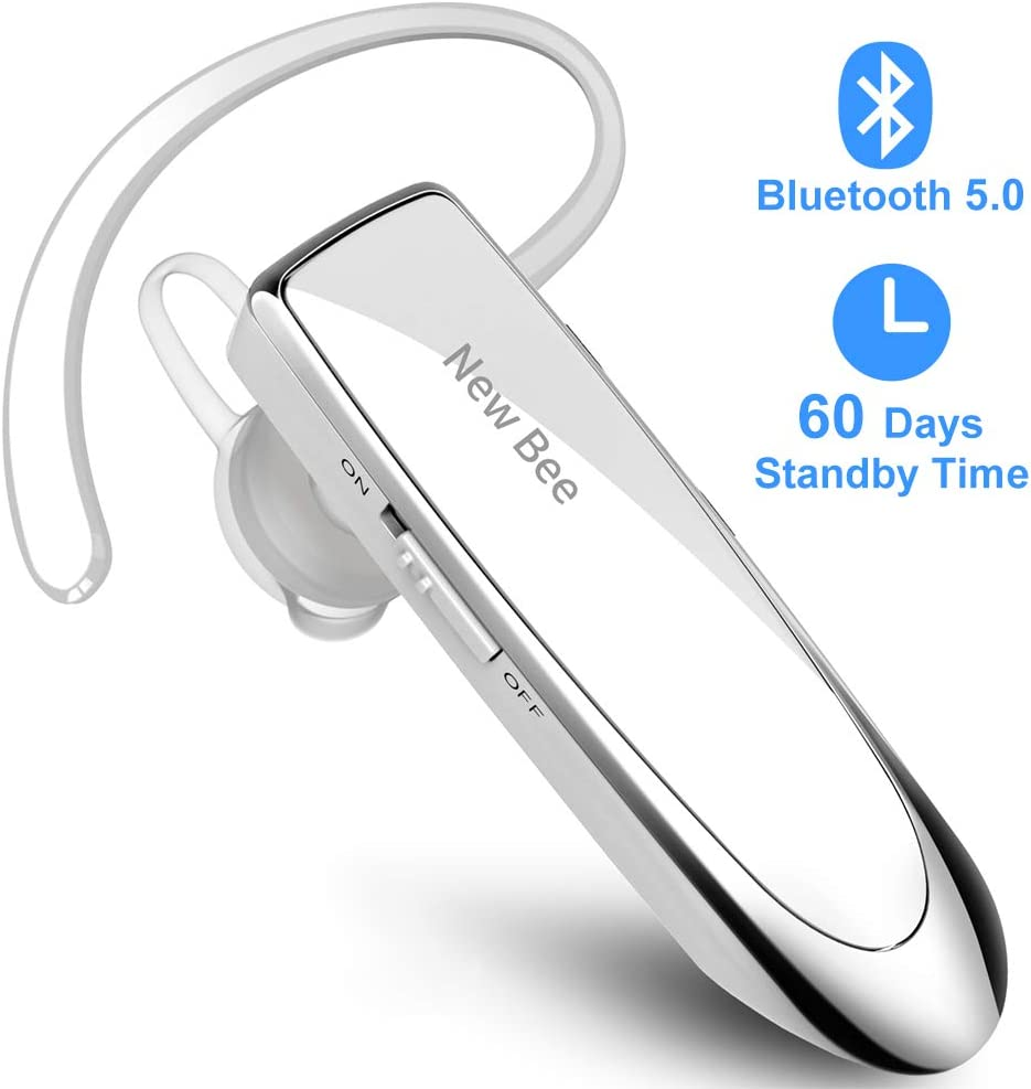 New Bee Manos Libres Auricular Bluetooth Auricular inalámbrico Bluetooth Mano Libre con tecnología de Captura de Voz Clara Auricular Bluetooth para iPhone Samsung Huawei Sony, etc (Blanco)
