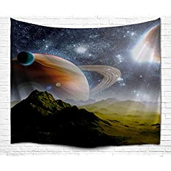 Universe Galaxy Star Wall Tapestry, IMEI Multi Purpose Outer Space Wall Hanging Mural Art Decoration Tapestry Sofa Cover Beach Blanket Dorm Decor (80X60 Inch, Earth Moon and Mountains)