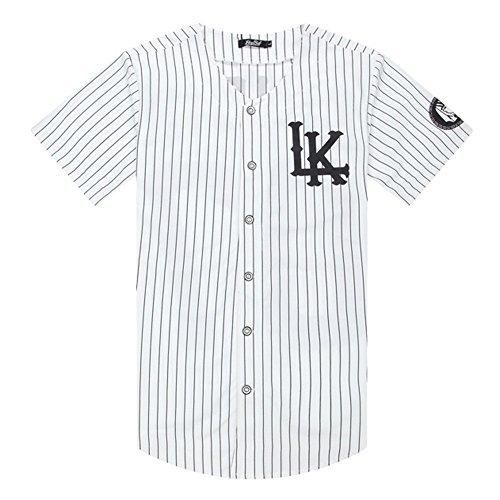 Zokey Hip-Hop Striped Cardigan Baseball Shirt Baseball Uniform T-Shirt BQCSA30M
