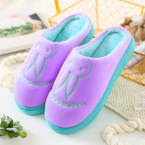 Aemember Bag Of Cotton Slippers With Couples Home Soft Thick Bottom Bottom Skid In Winter Indoor Home Furnishing Shoes,38-39 (Fit For 37-38 Feet),Purple (Ban Bao)
