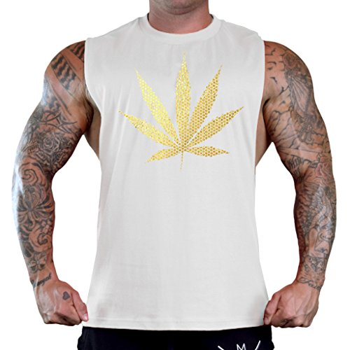 Men's Gold Foil Polka Dot Weed Leaf White Gym T-Shirt Tank Top Large White