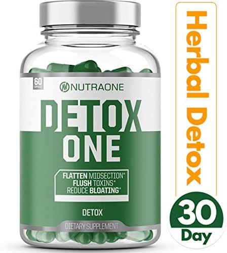 DetoxOne Natural Detox Support Supplement by NutraOne | Plant-Based Herbal Blend of Superfoods that Includes Milk Thistle, Flaxseed, Psyllium Husk, Senna Leaf | Gallbladder, Liver & Digestive Support*