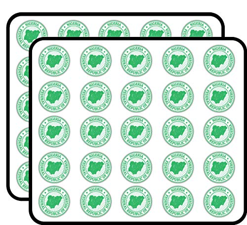 Nigeria Map Grunge Rubber Stamp Art Decor Sticker for Scrapbooking, Calendars, Arts, Kids DIY Crafts, Album, Bullet Journals 50 Pack