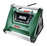 Bosch Home and Garden Akku-Radio PRA Multipower, ohne Akku, Aux-In Kabel, Netz-Adapter, 2x AAA Batterien (18V, Radiofrequenzbereich AM 522 - 1.611 kHz)