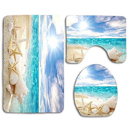 (Beach Theme Seashell(3) 3pcs Set Rugs Skidproof Toilet Seat Cover Bath Mat Lid Cover Cushions Pads)