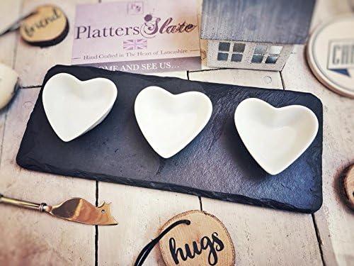 Platters Slate Bellissimo vassoio in ardesia con tre ciotole//30/x 12/cm//alimenti//riscaldamento matrimonio regalo di Natale regalo di compleanno