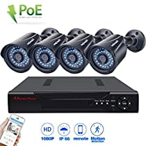 Abowone 1080P POE Security Cameras System with 4CH 2.0MP Standard POE Cameras