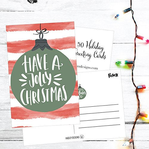 50 Red & Green Holiday Greeting Cards, Cute Fancy Blank Winter Christmas Postcard Set, Bulk Pack of Premium Seasons Greetings Note, Happy New Years for Kids, Business Office or Church Thank You Notes Photo #2