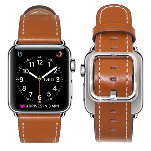 Price comparison product image Band for Apple Watch 38mm, Guangzhi Genuine Leather Wrist Staps Replacement Band with Square Buckle Clasp for iWatch Series 1 / 2 / 3, Sport, Edition,38mm,Brown
