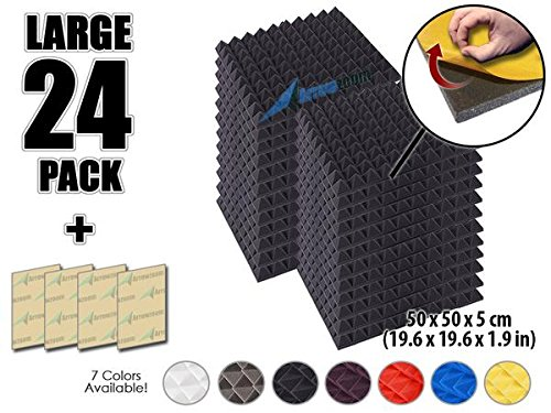 arrowzoom-new-24-pack-of-196-x-196-x-19-inches-soundproofing-insulation-pyramid-self-adhesive-acoust