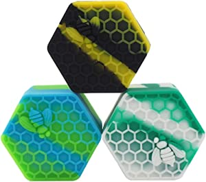 TOPJAR 3Pcs Silicone Honeybee 26ml Wax Container Non Stick Food Grade Multi Use Hexagon Oil Storage Jar Assorted Color