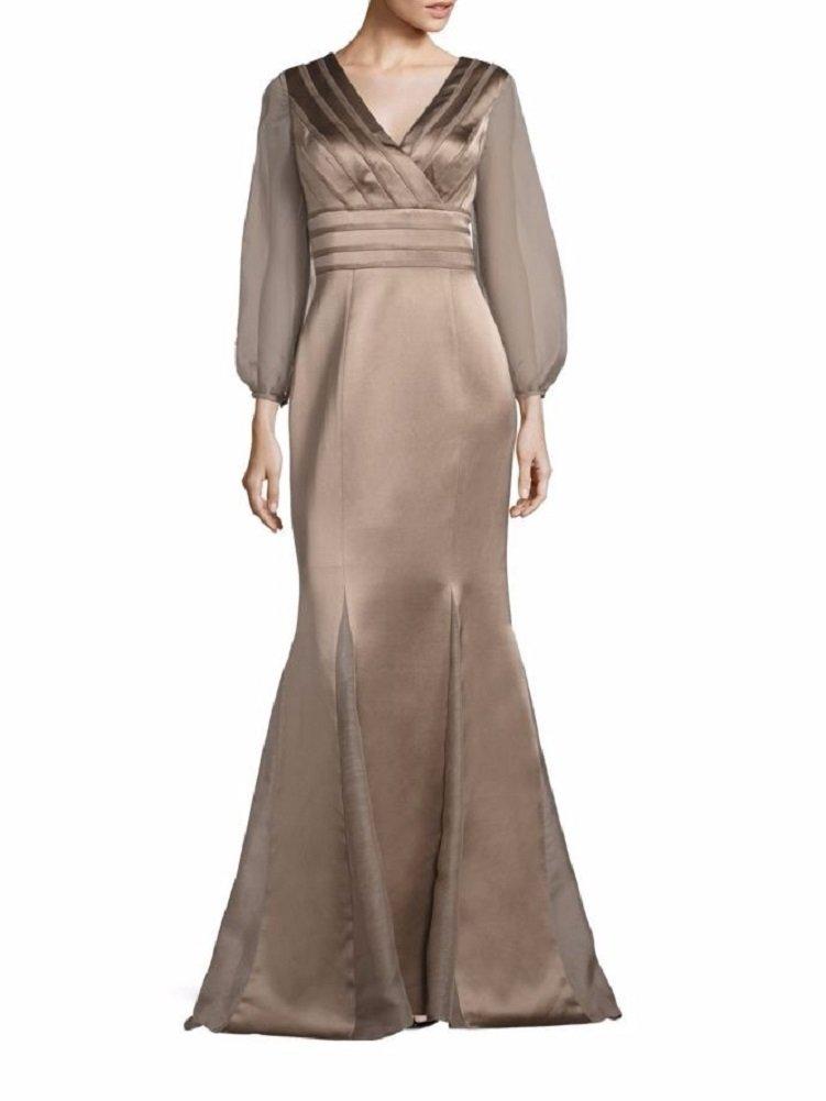 Amazon.com: Kay Unger New York Womens Long Sleeve Satin Mermaid Gown 16 Latte: Clothing
