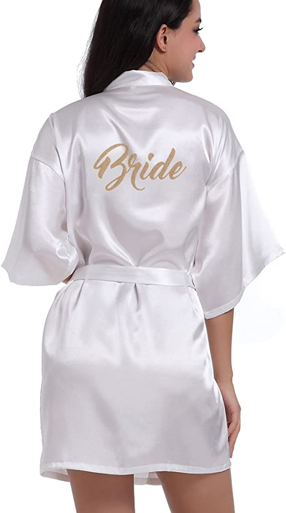 Women S Satin Kimono Robe For Bridesmaid And Bride Wedding Party Getting Ready Short Robe With Gold Glitter At Amazon Women S Clothing Store