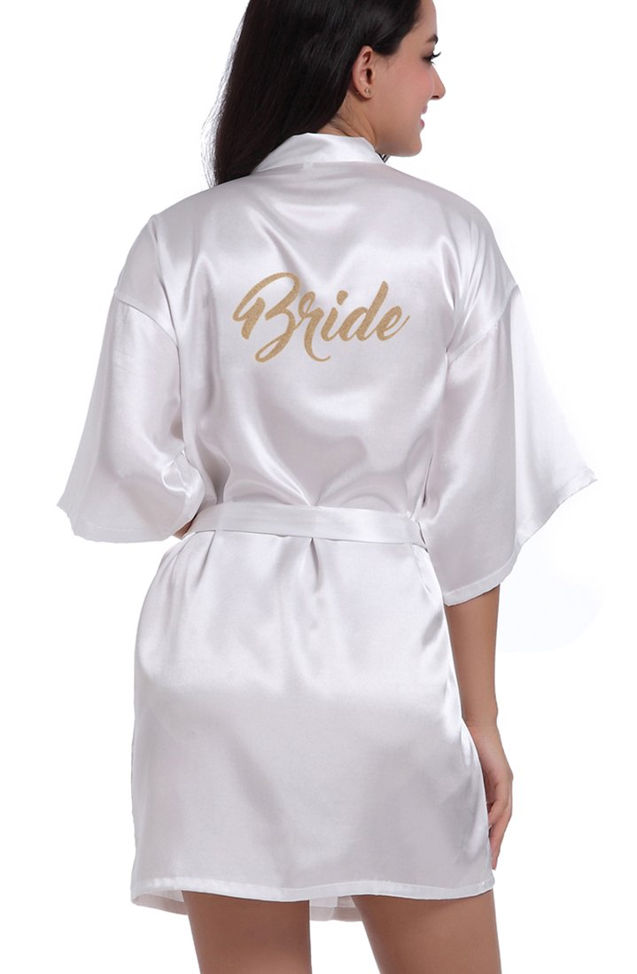DF-deals Womens Satin Kimono Robes with Gold Glitter for Bridesmaid and Bride, Wedding