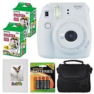 Fujifilm instax mini 9 Instant Film Camera (Smokey White) + Fujifilm instax mini Instant Film (40 Exposures) + 4 AA Batteries + Camera Case + Selfie Photo Album - Valued Accessory Bundle