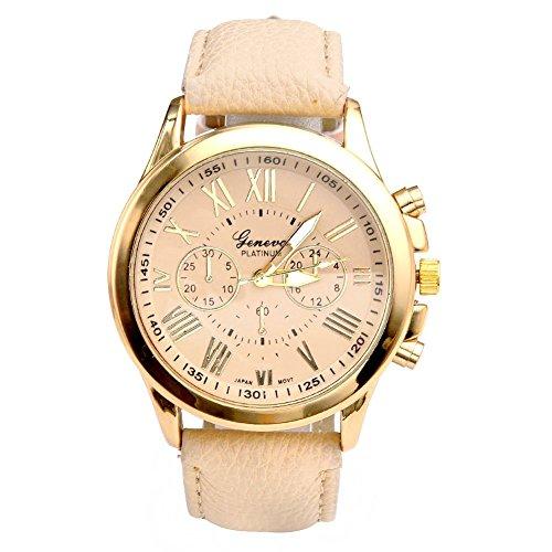 JS Direct Uhren,Elegant Damen Candy Römisch Ziffern Chronograph Armbanduhr,Kunstleder Band Analog Qaurzuhr,Mit DE Flagge Armband (Beige)