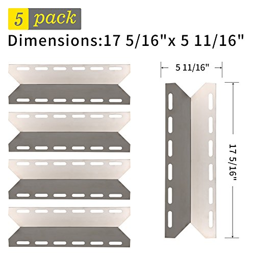 Charmglow Gas Grill Parts (SHINESTAR Grill Replacement Parts for Charmglow, Kirkland, Nexgrill, Perfect Flame, 5-Pack 17 5/16 inch Stainless Steel Universal Heat Shield Plate Heat Tent BBQ Burner Cover Flame Tamer(SS-HP029))