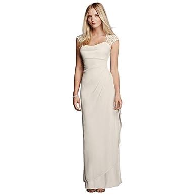 f0eae537cd David s Bridal Lace Cap Sleeve Long Matte Mesh Dress Style XS3450 -  Off-white -