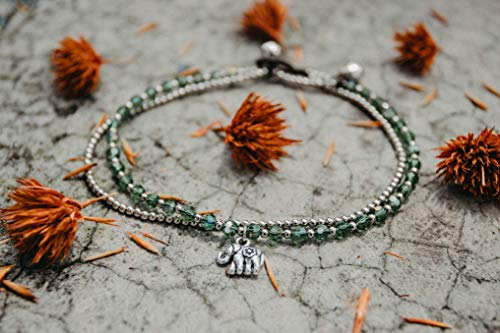 Changnoi Silver Elephant Green Jade Anklet Bracelet, Festival Anklet, Boho Anklet, Bohemian Anklet, Gypsy Anklet, Artisan Anklet