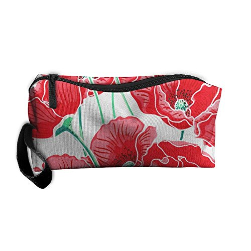 Hey Poppy - Red Beautiful Poppy Flowers Blossom Zipper Closure 3D Printing Pencil Pen Case Cosmetic Makeup Bag Travel Bag Tote For Women Girls