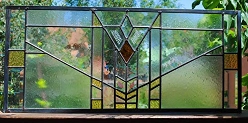(Stained Glass Window Panel Beveled Mission Style Prairie Transom customizable)