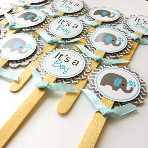 Baby Boy Elephant Cupcake Toppers - It's a Boy Baby Shower Party Supplies in Blue Grey - Set of 12