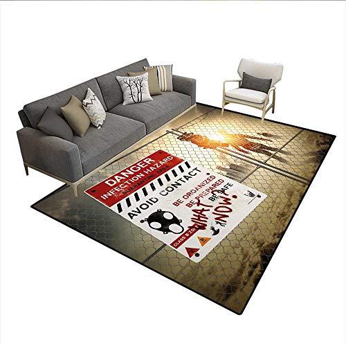 Carpet,Dead Man Walking Dark Danger Scary Scene Fiction Halloween Infection Picture,Indoor Outdoor Rug,Multicolor 6'6