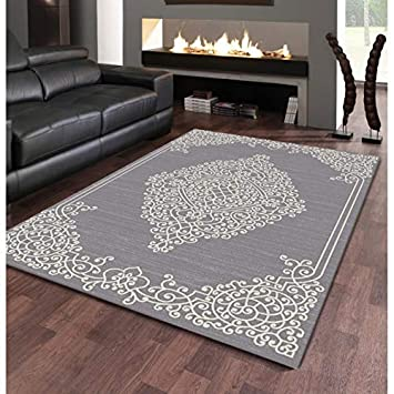 Tapis de Salon Design Oriental - New Florida - Gris - 160 X ...