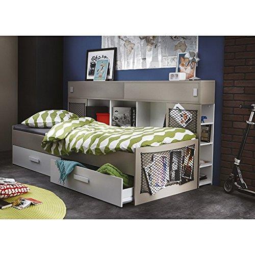 Funktionsbett 90*200 cm weiß / grau inkl. 2 Bettschubkästen Kinderbett Jugendbett Jugendliege Bettliege Bett Jugendzimmer Kinderzimmer 1609