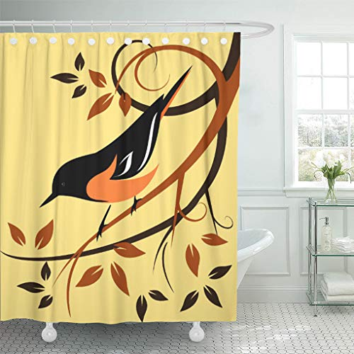 Semtomn Shower Curtain Orange Birds Baltimore Oriole Animals Swirls Wildlife Autumn Colors 72