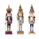 MagiDeal 3pcs 30cm Classic Retro Wooden Nutcracker Soldier King Figures Model Collectibles Puppet Doll Home Decoration Xmas Gift