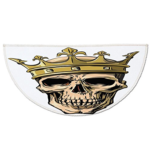 Half Round Door Mat Entrance Rug Floor Mats,King,Dead Skull Skeleton Head with Royal Holy Crown Tiara Hand Drawn Image,Golden and Light Brown,Garage Entry Carpet Decor for House Patio Grass Water by iPrint