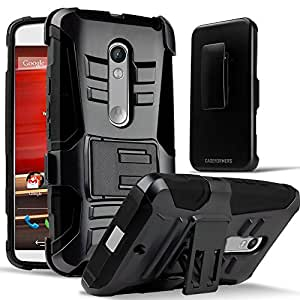 Motorola Moto X Play Case, CASEFORMERS Duo Armor BLACK for Motorola Moto X Play Combo Case with Stand and Holster