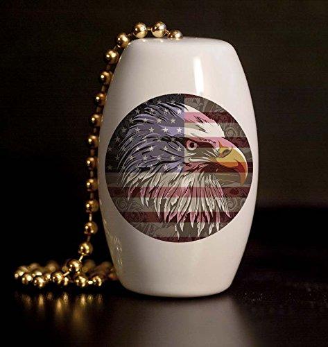 Antique American Eagle and Flag Porcelain Fan / Light - Eagle American Wall