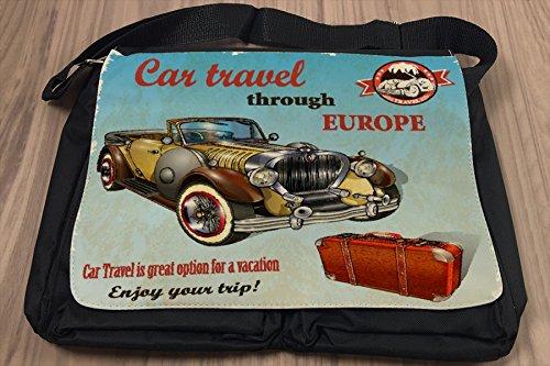 Borsa Tracolla Garage auto viaggi in Europa Stampato Gas Stazioni