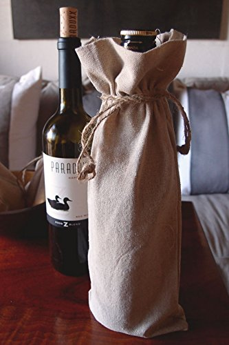 ABC-usnumber1seller Natural Linen Wine Bags With Drawstrings - 12 Pack