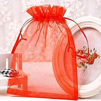 LINSUNG 100pcs Pochette Poche Sac Sachet Blanc Transparent en Organza pour D/écoration Cadeau Mariage Bijou Bonbon