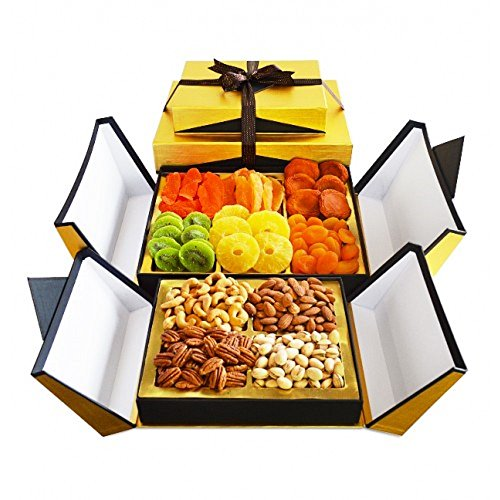 Kosherline Gourmet Indulgence Dried Fruit & Fancy Nuts Kosher Gift Tower