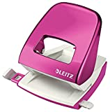 Leitz Hole Punch, 30 Sheets, Guide Bar with Format Markings, Metal, WOW Range, 50081023 - Metallic Pink