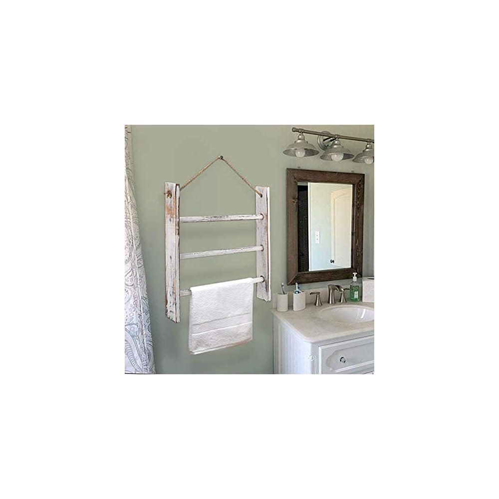 Ladder Hand Towel Rack for Bathroom, Blanket Ladders for The Living Room Hanging Blanket Ladder Rustic Decorative Ladder…