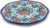 Polish Pottery 9¼-inch Egg Plate made by Ceramika Artystyczna (Bluebells And Lace Theme) Signature UNIKAT + Certificate of Authenticity